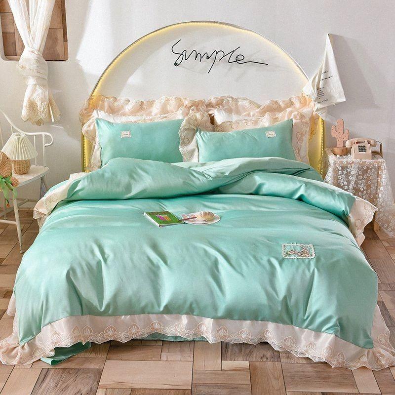 Serie Textiles para el hogar Ropa de cama de encaje lavado hoja de cama de seda Chica Sala de la Princesa de encaje cubierta del edredón de la piel amable y cómodo YwuM #