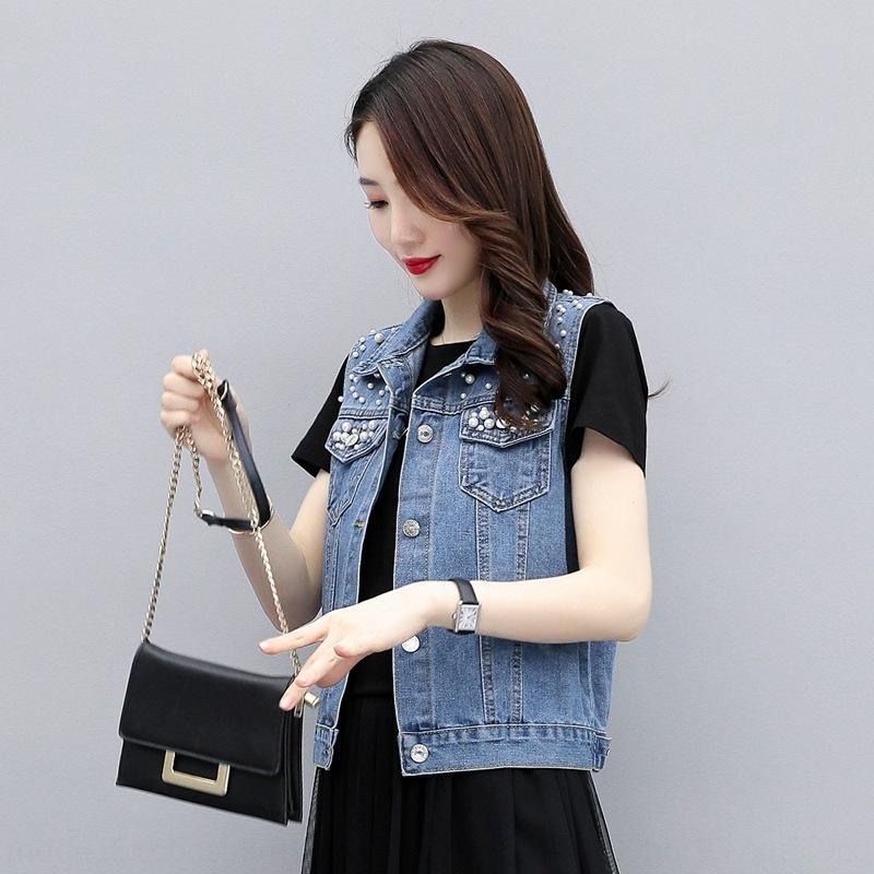 djVnj бисером Denim KTGjs женщин куртка осенью и весной куртка Корейский стиль Harajuku стиль инструменты рукавов жилет жилет жилет свободный
