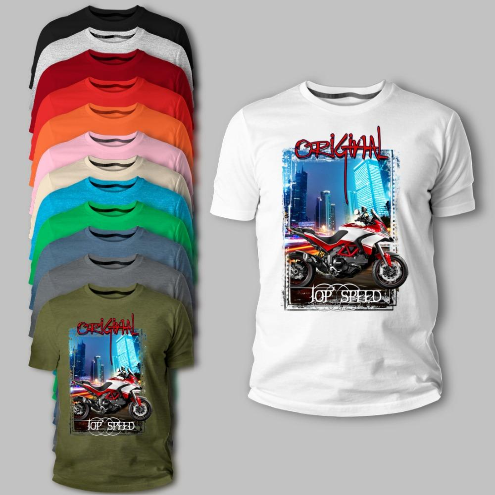 Italia Classic Motorcycle Motorrad Multistrada 1200 Adverture Schwarz Rot 2020 Estate Novità Marca maglietta casuale divertente cotone