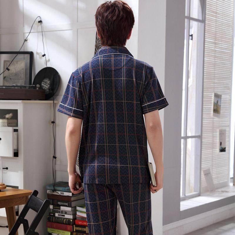 EfKzW cardigan Jisi 2019 novos lapela pijamas masculinos de verão pijamas de algodão calças de manga curta calças Plaid Su terno fino