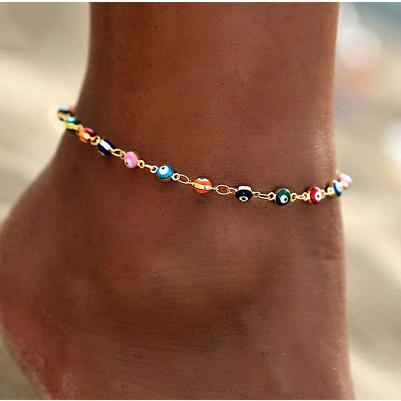 VSCO Kız Bohemian Renkli Türk Gözler Kadınlar Boncuk Charm Yaz Ocean Beach Bilek Ayak Bacak Takı Parti Aksesuar Halhallar Bilezikler