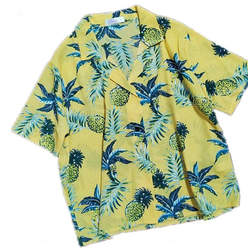 15g6W корейский Ананас все-матч свободный Гавайский напечатаны шикарный ананас прохладно летом рубашка с коротким рукавом рубашки для женщин