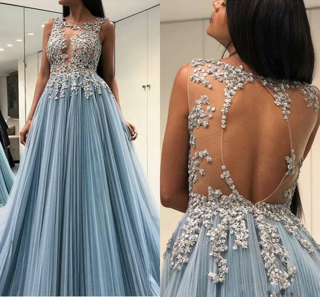 Ice Blue Sheer Keyhole Evening Dresses Lace Appliques Backless Beads Sequins Pleats Formal Dresses Evening Wear Gowns Prom Dress Robes