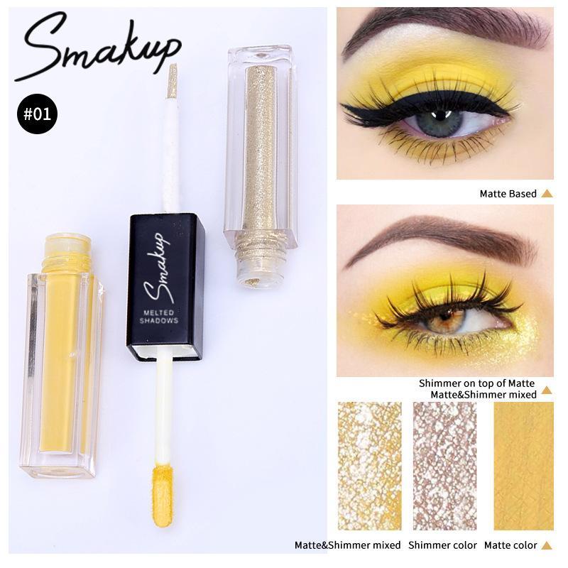 Желтый Дважды Liquid Eye Shadow Осветляющий Тени Долговечность Матовый Shimmer Eyeshadow Алмазные Перламутровые макияж глаз 0023