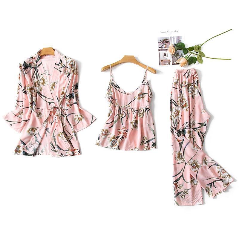 실크 새틴 잠옷 세트 여성 3PCS 홈 웨어웨어 인쇄 꽃 면화 숙녀 섹시한 느슨한 수면 나이트웨어 2020