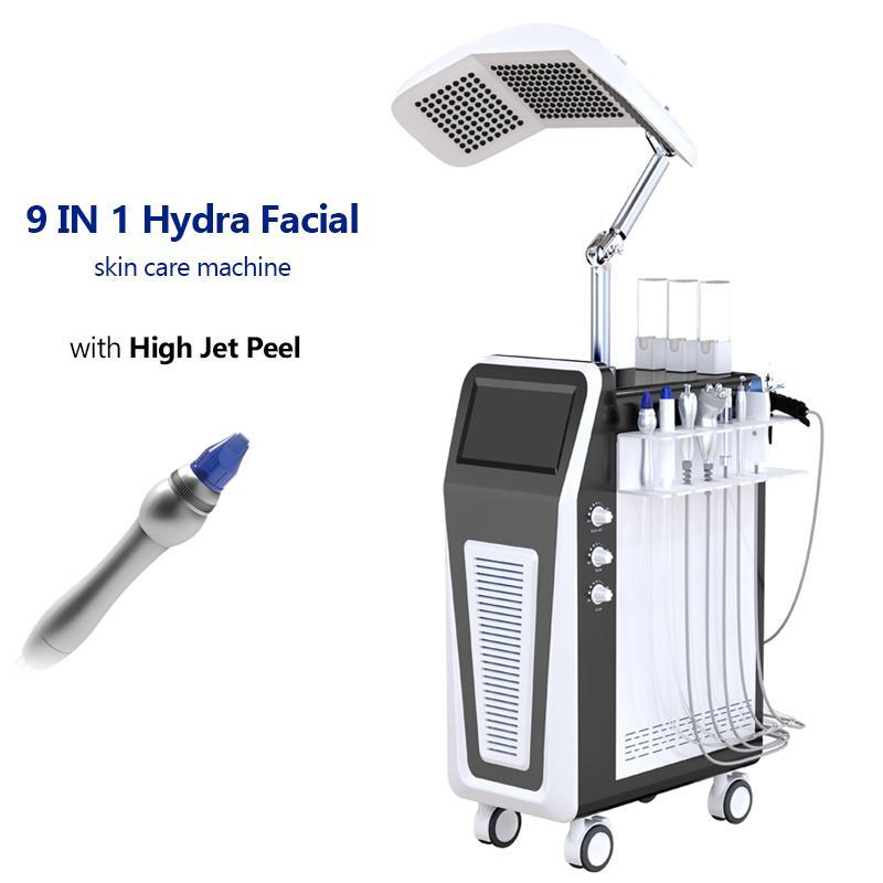 9 en 1 Alto rendimiento Agua Oxígeno Jet Peel Microdermabrasión Anti-Envejecimiento Hydro Dermabrasion Máquina Piel Limpieza profunda Bio Levantamiento de cara