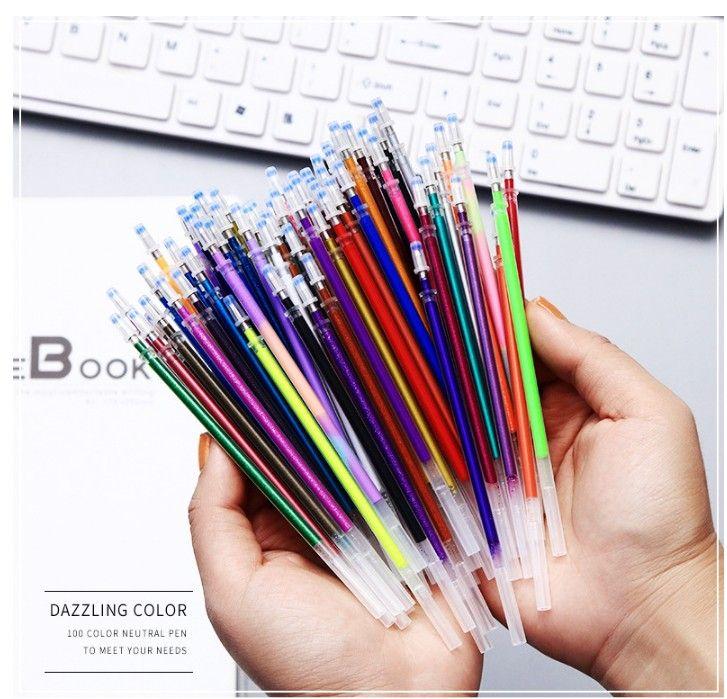 0,7 mm Cor Gel Ink Pen Refills Neon Glitter Pastel Art Be Smart Substituir 100pcs / 60pcs set / set 48pcs / WJ001 set