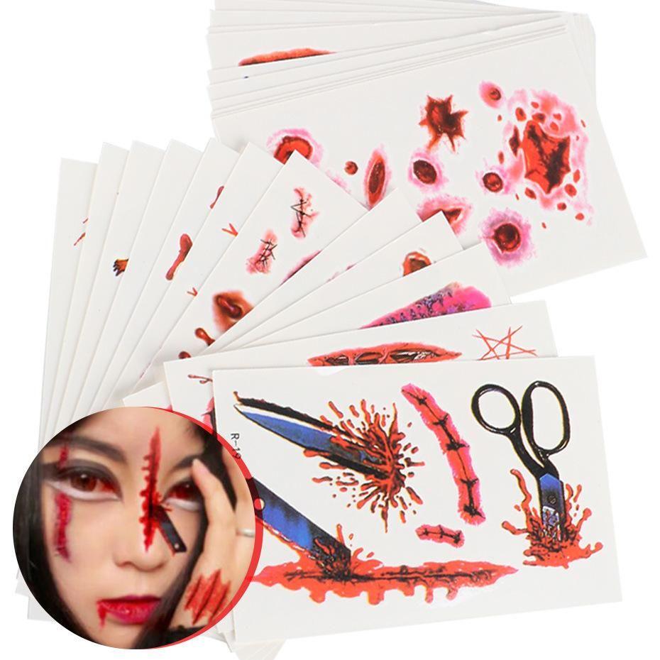 Поддельный Transfer 30шт 3D Halloween Временные татуировки крови Травма Шрам Паук воды стикеров украшения Косметика Body Art R01-R30