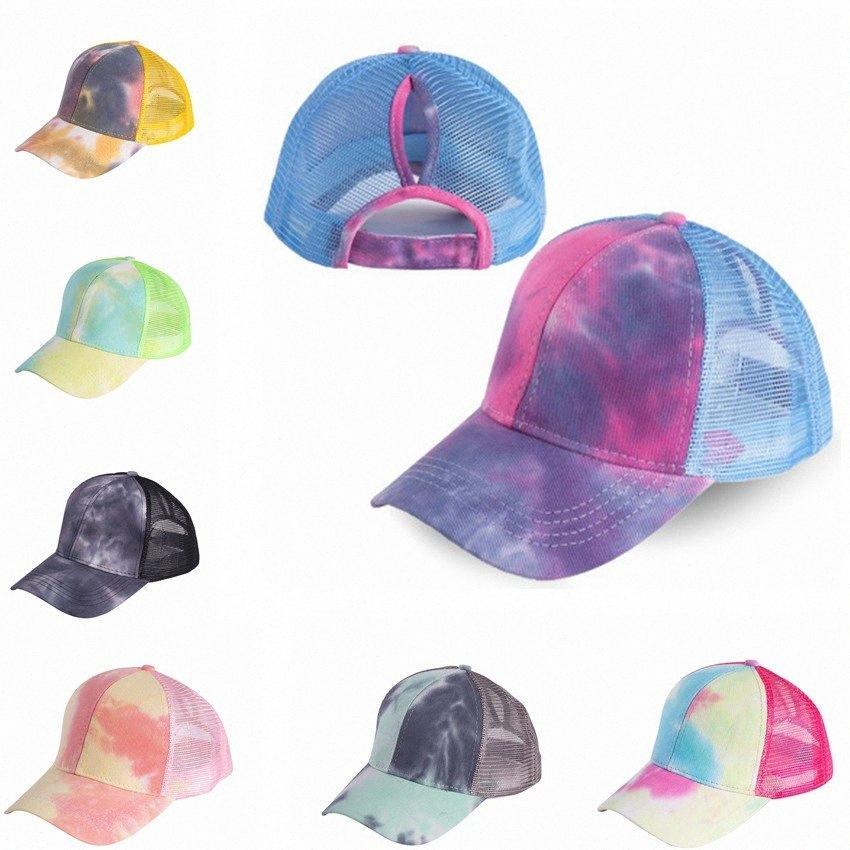 Лето Mesh хвостик Baseball Cap шляпа Мода Tie Dye Snapback Кепка Открытого Спорт Hat IIA124 w80Q #