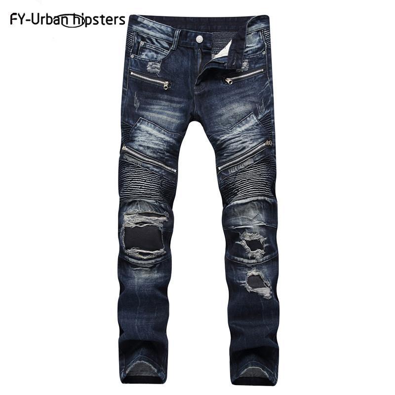 2020 hommes jeans déchirés les jeans Blue hommes Zipper occasionnels de haute qualité taille denimstraight grand pour les hommes Washed pantalon en denim coton