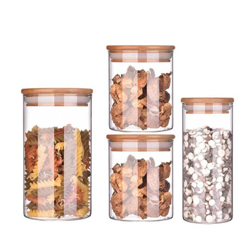 Glas mit Deckel Cookie Jar Küche Gläser und Deckel Mason Süßigkeiten für Gewürze Glasbehälter Großhandel