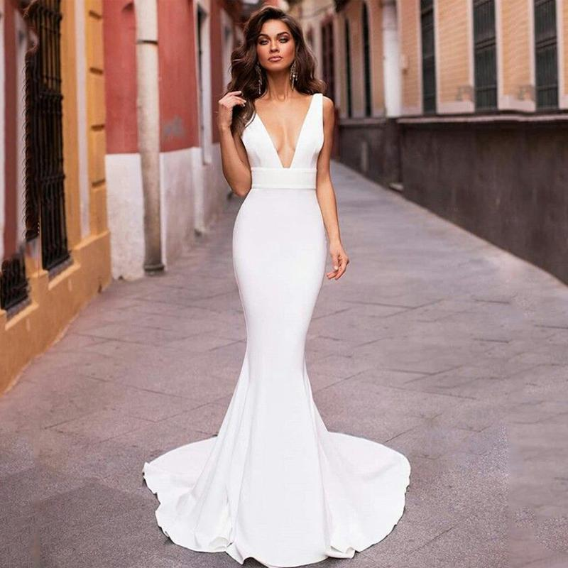 Smileven Русалка Свадебное платье 2020 V шеи Satin Robe De mariée Boho Свадебные платья невесты