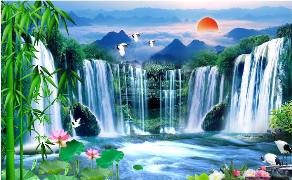 peintures murales Fond d'écran 3D pour vivre paysage chute d'eau de lotus bambou chambre peinture paysage naturel papier peint du mur de fond