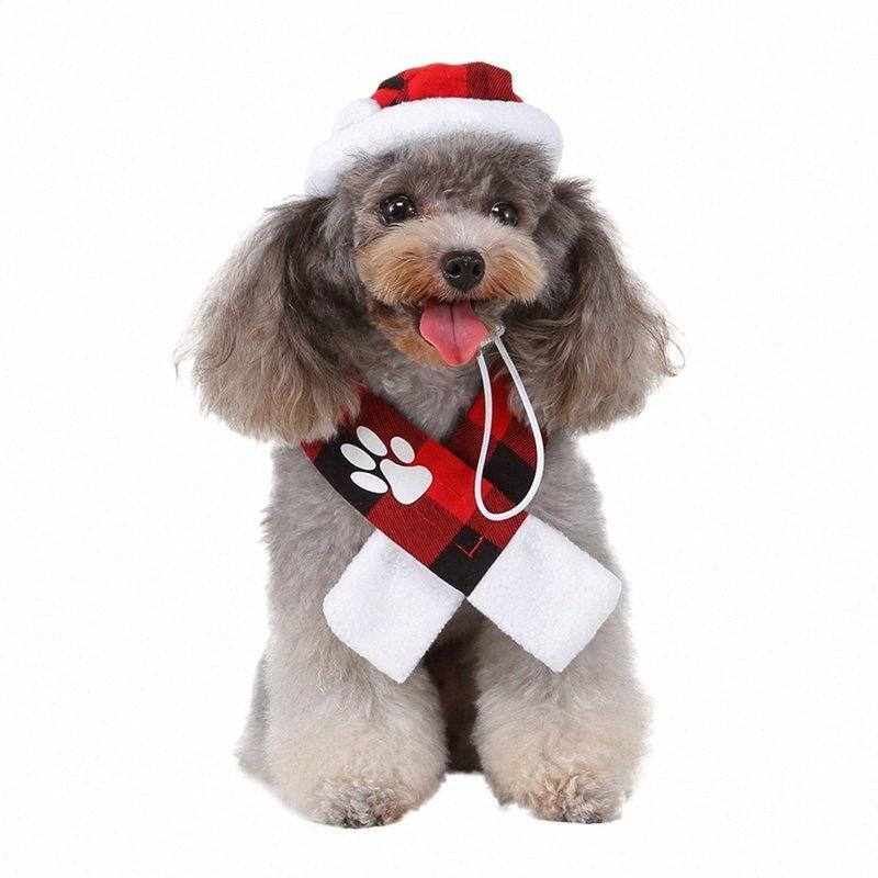 111Pet Kış Şapka Ve Fular Seti, Kırmızı Ve Siyah Kareli Tatiller Ve Festivaller Kostüm İçin Küçük Köpekler aa 1 I4mK #