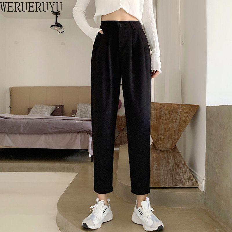 WERUERUYU корейский стиль лодыжки костюм брюки Женщины с поясом 2020 осень зима Женщины шаровары высокой талией черные брюки