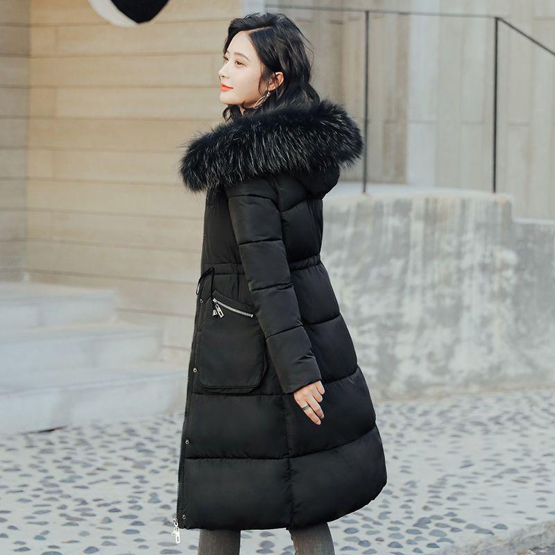 2020 Inverno donne coreane Elasted vita della giacca femminile Oversize Solid Collare Fuax pelliccia spesso incappucciato Cappotti donna lunghi parka A119