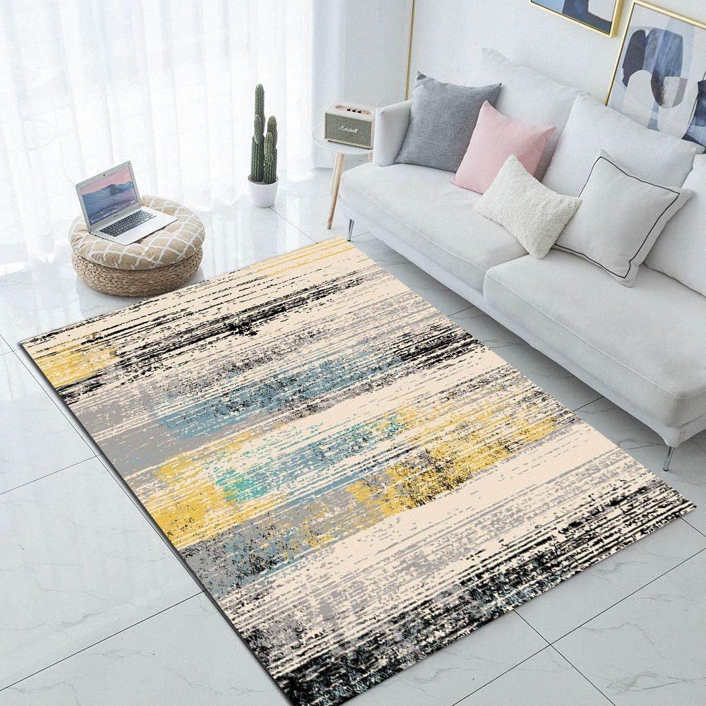 Else Azul Amarelo Cinzento Preto do respingo da cor NORDEC impressão 3D não Slip microfibra sala de visitas moderna Tapete lavável área tapete Mat iz7h #