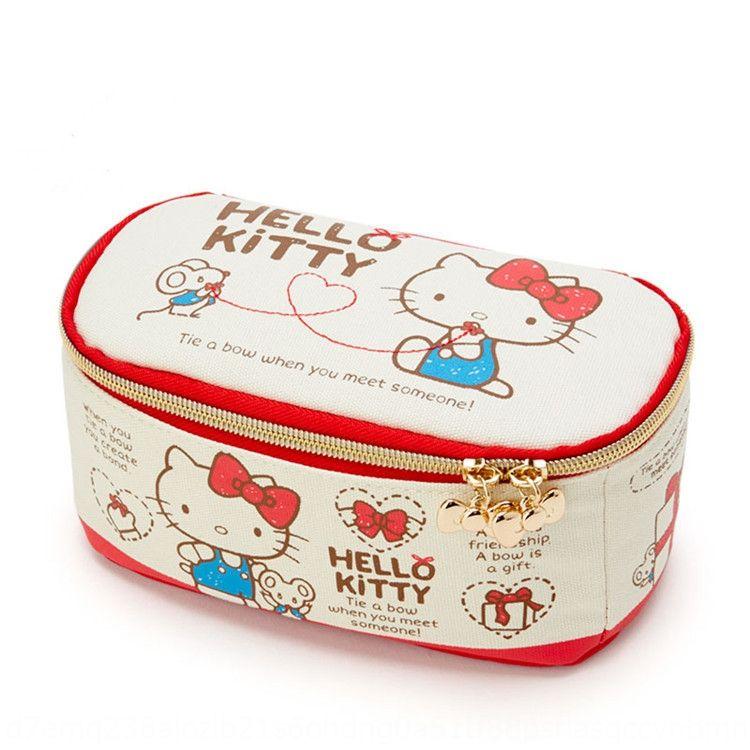 Cartoon cute Kitty cat Merlot travel canvas cosmetic storage wash bag cosmetic storage bag