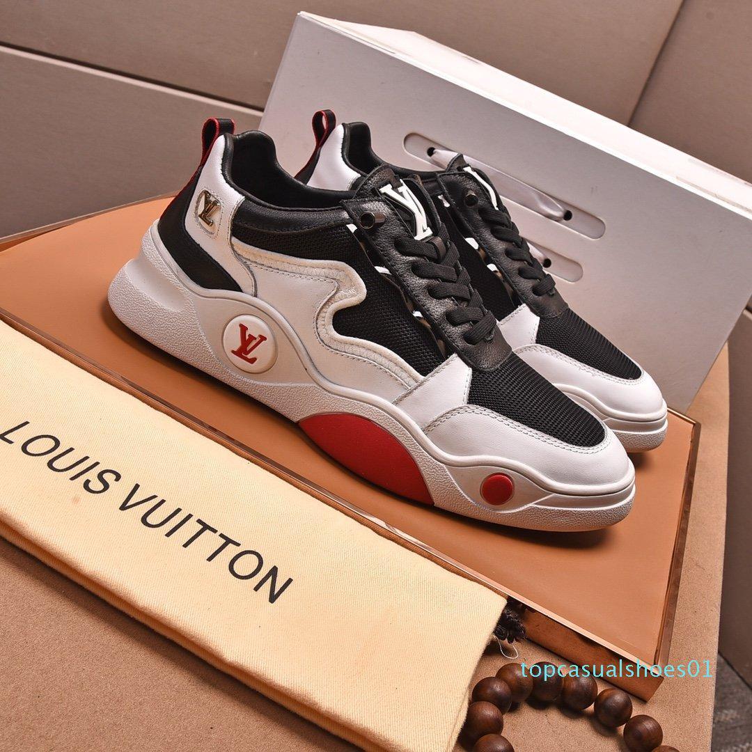 2020 O1 Moda Trend Tasarımcı Erkek Ayakkabı Deri Mesh Nefes Rahat Açık Ayakkabı Dantel-up Casual Yürüyüşçülerden Ayakkabı Erkek Sneakers1 T01