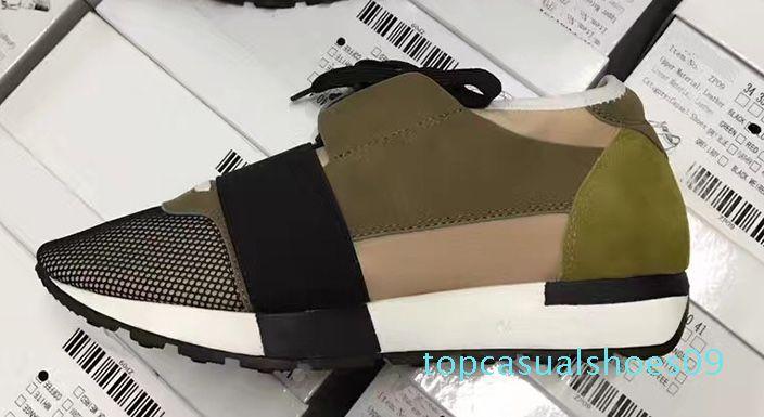 Mode Luxus-Designer-Turnschuh-Mann-Frauen-beiläufige Schuh-echtes Leder-Mesh-spitze Zehe Rennen Läufer-Schuh-draußen-Trainer US5-12 n01 t09