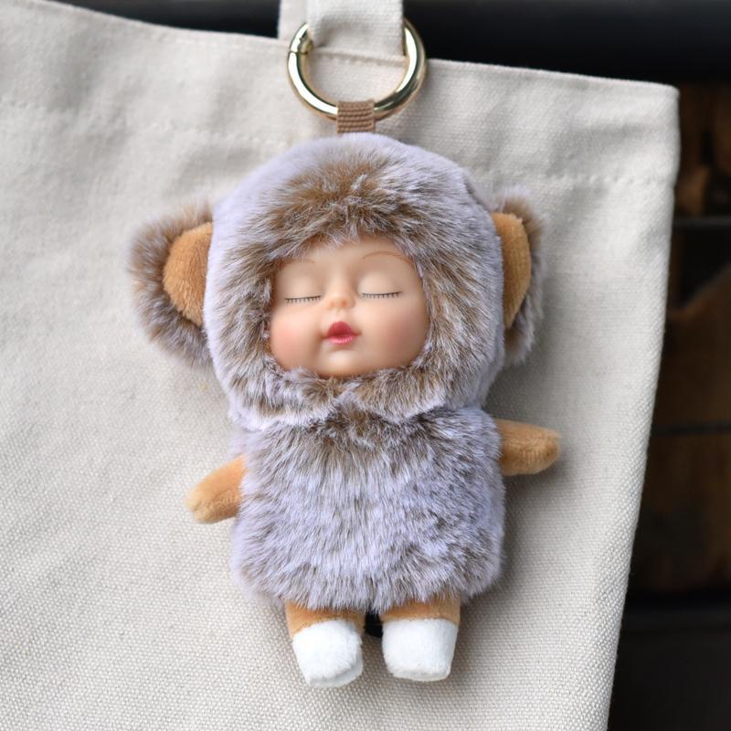 48pcs of Schattige Haarbal Sleutelhanger Zachte Baby Doll Haarbal Auto Sleutelhanger Dames Auto Tas Accessoires Sleutelhanger gift Llaveros