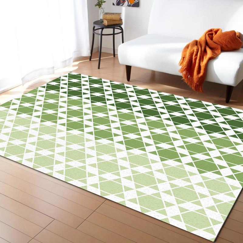 Geometrici esagonali gradiente tappeti verdi di Soggiorno Camera da letto coperta di zona scherza la stanza stuoia 3D di stampa Home grande tappeto