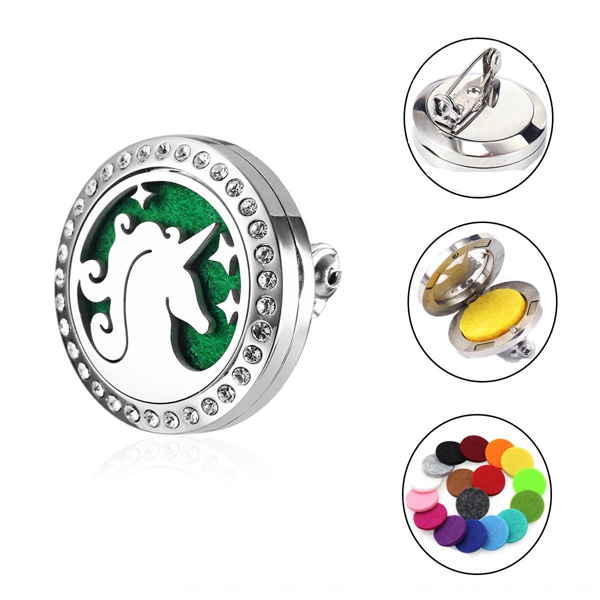 sTd9F 316L stainless steel Pendant aromatherapy personalizedbrooch pendant perfume aromatherapy essential oil diffusion brooch accessories
