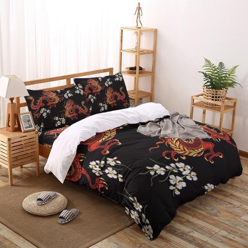 Drachen Stickerei Blume gedruckt Bettbezug-Set 4 Stück Bettwäsche-Set Home Textile Anpassbare