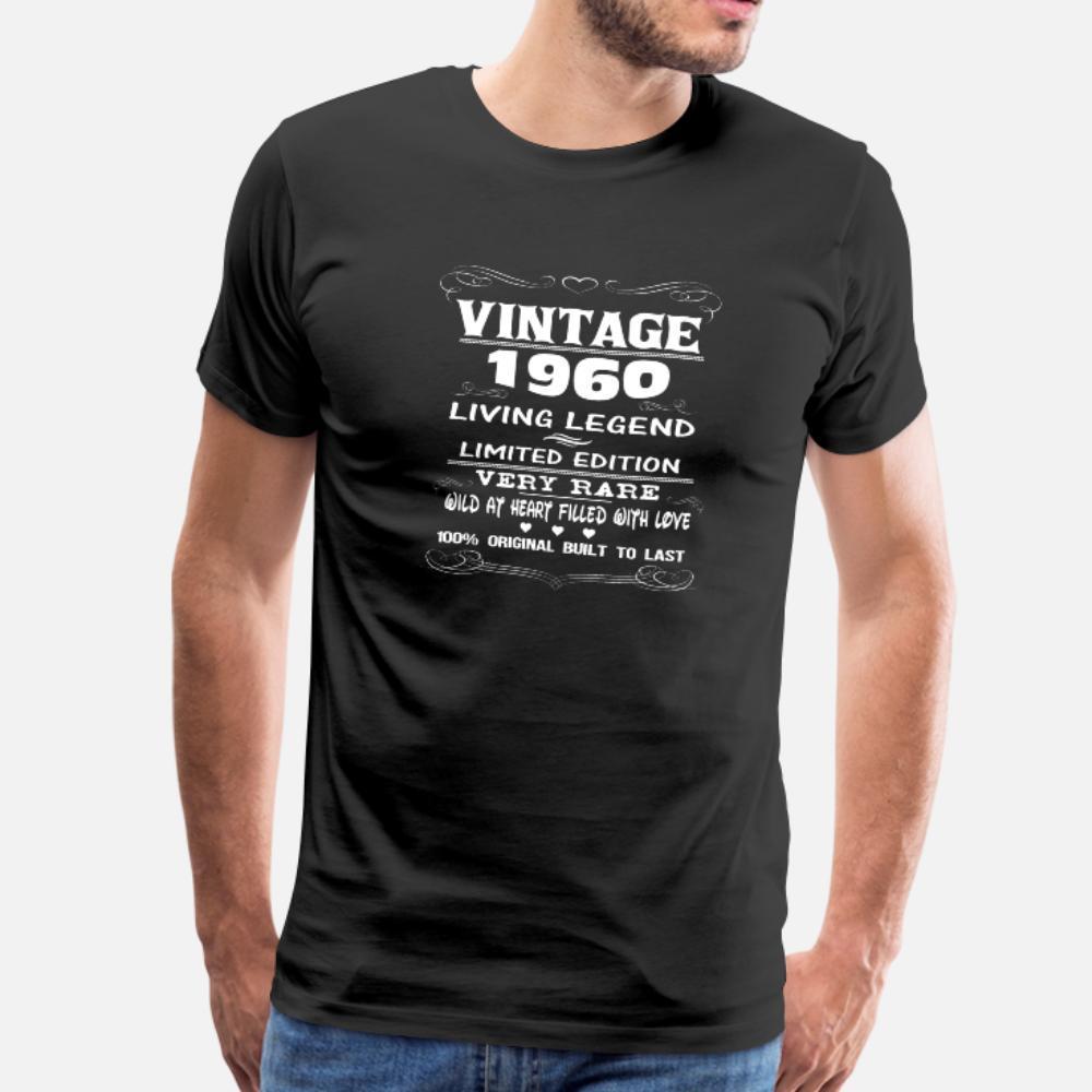 Vintage 1960 hombres de la camiseta de manga corta personalizada tamaño S-3XL básico camisa fresca del verano del estilo de Humor Gráfico Sólido