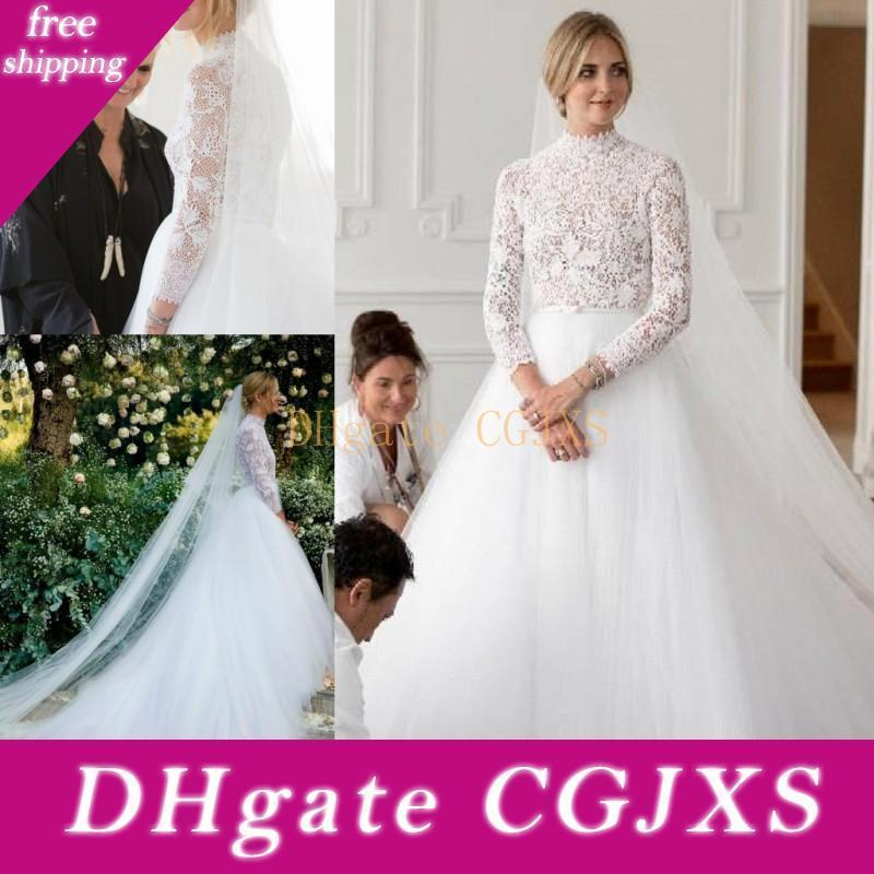Atemberaubende Boho Spitze eine Linie Hochzeits-Kleid-Ausschnitt Langarm Tüllrock Split Sides Country Style Plus Size Bride Kleider Vestidos