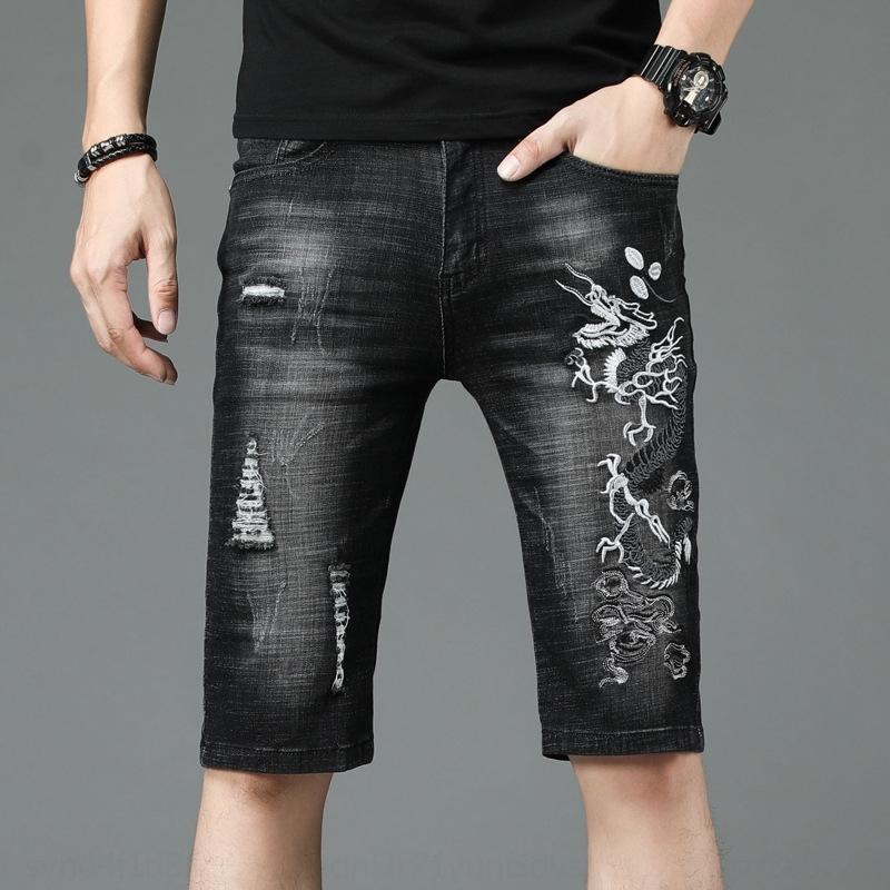 pantalones cortos de nuevo tamaño vbRP8 4hlX3 verano bordado pantalones cortos estilo pantalones pantalones de mezclilla pequeña de cinco puntos consecutivos de los hombres jóvenes de los hombres grandes de Corea del dra