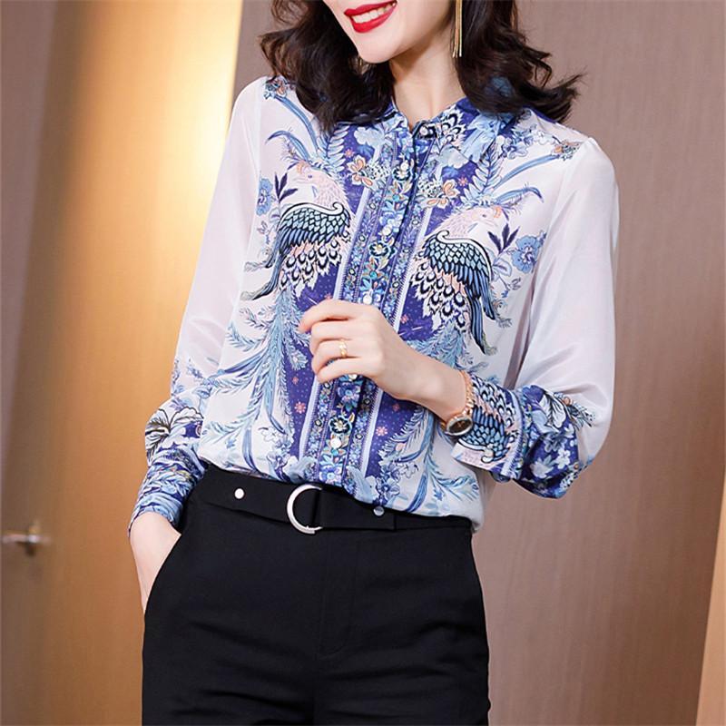 Корея с длинным рукавом V-образным вырезом шифон женщин блузка Элегантный офис рубашки женские осень Vintage Printed Топы Блузы Blusas Mujer