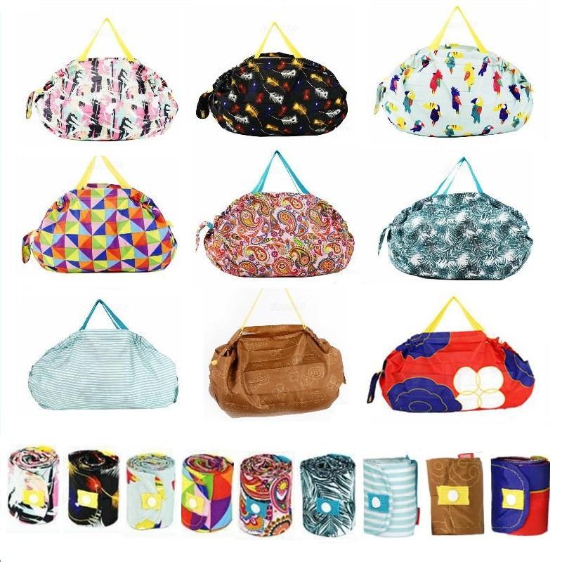 Criativa poliéster portátil saco de compras Folding impressão saco de armazenamento japonês e coreano grande capacidade de compras bolsa T9I00611