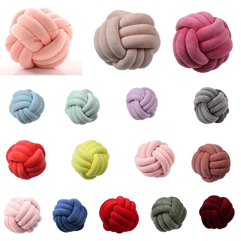 Nudo Bola Suave Relleno cojines de la cama Almohada Decoración del amortiguador felpa de la bola banda anudada Almohada MX200716