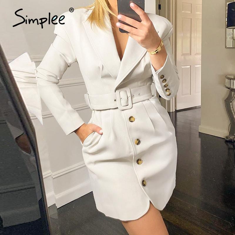 Düz çalışma elbise plise Simplee Beyaz sonbahar kış ofis elbise Nedensel ofis bayanlar düz elbise elbise Uyarlanmış yaka 2020 MX200804