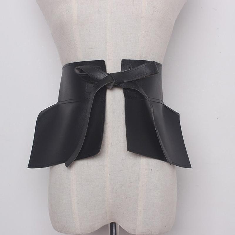 Sexy Kleid der Frauen Gurtkleid Jeans wilden schwarzen bowknot breiten Gürtel Designer 314