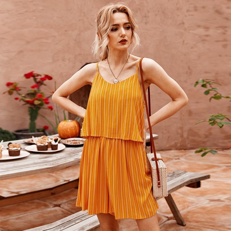 Tibusti da donna Pagliaccetti Summer Striped Fresh Casual Color Colour Tuta Donne Europeo e American Fashion Temperament Temperament Pendolaring SIMPL