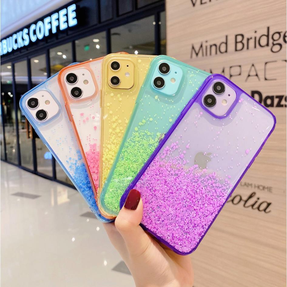 Luxo Luminoso iPhone Glitter Powder telefone capa para 11 Pro Max XS XR 8 7plus com corda cadeia de moda tampa traseira transparente macio TPU Sho