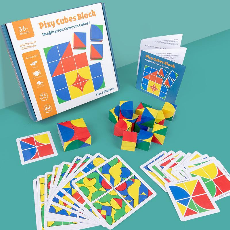 Kid legno blocco cubo di puzzle dei bambini 3D blocco di legno giocattoli in anticipo di formazione regalo Kid sviluppo dell'intelligenza