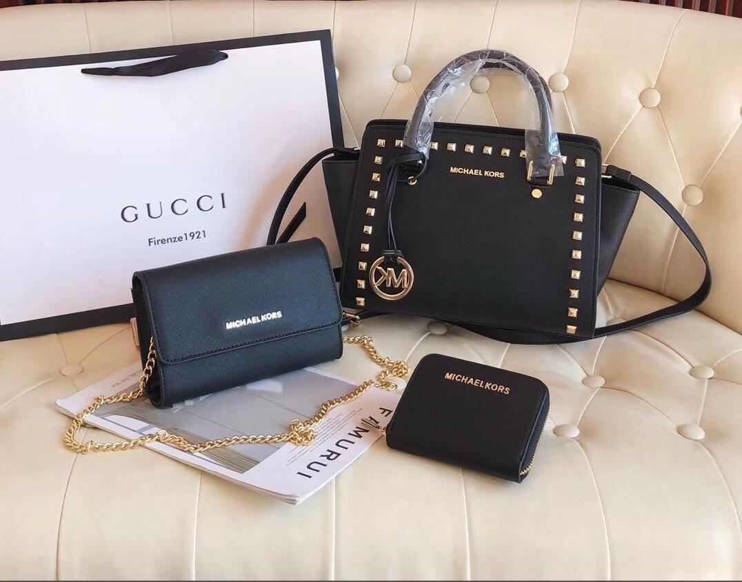 Dreiteilige Modedesigner Handtasche klassische meistverkauften Stil echte Kuh hohe Leder hochwertige Luxus-Handtasche Griff Schulter - 8