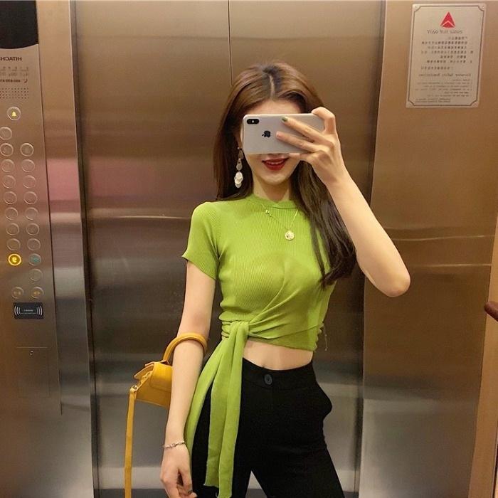 Tiktok онлайн красное лето Авокадо Слинг кружева кружево тонкого сплошного цвета вокруг шее ремешка тонкой шнуровки гофрированной футболки пассива топа женского Fashio