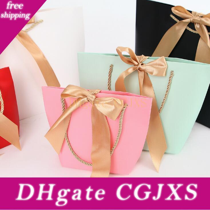 Paper Gifts Bags With Handles Pure Color 10 Colors Clothes Shoe Shopping Bag Gift Wrap 21x7x17cm Lx1055