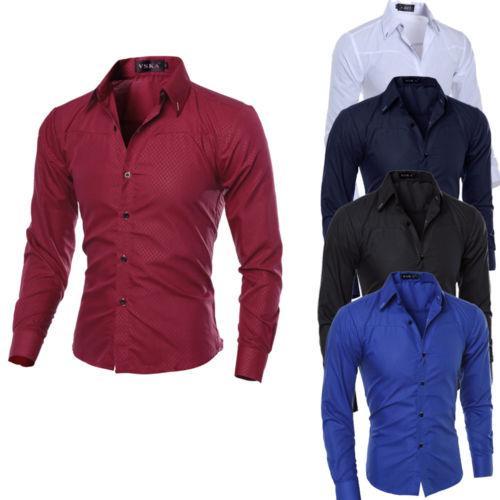 남성의 럭셔리 슬림핏 캐주얼 셔츠 긴 소매 비즈니스 정장 드레스 셔츠는 남성 봄 가을 의류 탑
