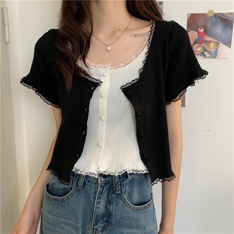 D7I3L carrée nouveau col de chemise courte douce dentelle fine couture mince manches courtes tricot chemise en dentelle d'été pour les femmes