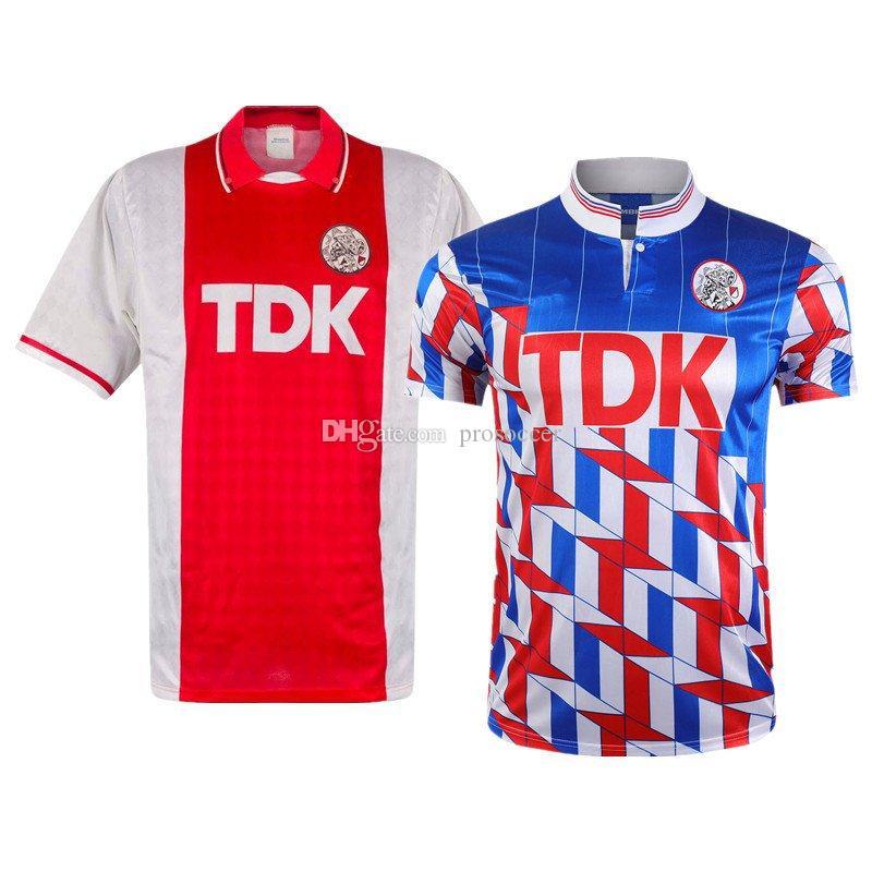 Ajax Retro 1989/91 Bergkamp Inverno de Boer Home Away Jerseys Vintage Camisa Vintage Kit
