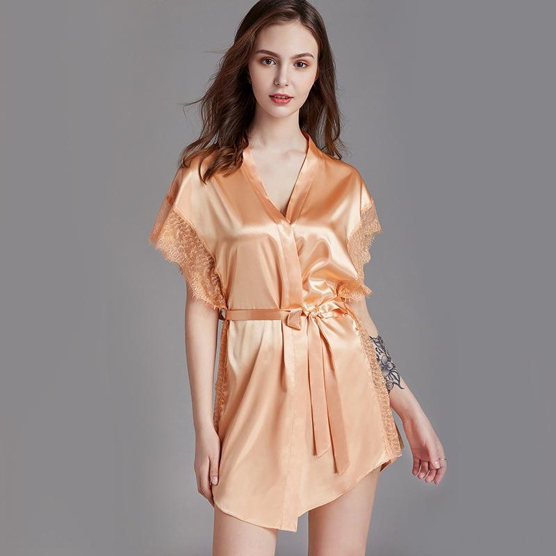 uCUIs Yaoting yeni dantel kadın Ev giysiler pijama dantel pijama yaz seksi ipek seksi gecelik kadın yaz sabahı ince ev cüppe