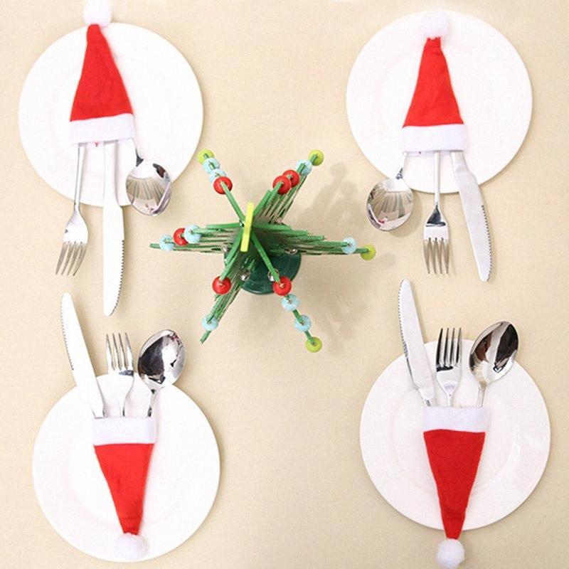 10pcs Weihnachten Dekorative Geschirr Messer-Gabel-Set Weihnachten Hat Storage Tool Home Decoration Supplies schöne p7JK #