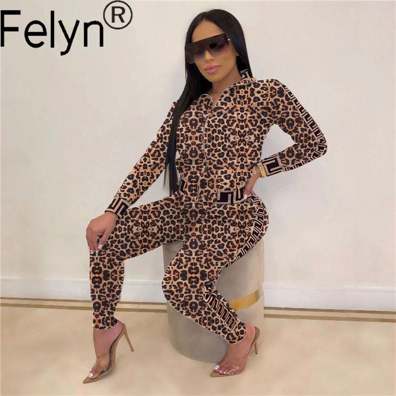 Felyn 2020 Ins Internet celebridade famosa 2 peças Fatos Mulheres Set Leopard O-Neck Primavera Outono roupas esportivas Suits DD7266 T200821
