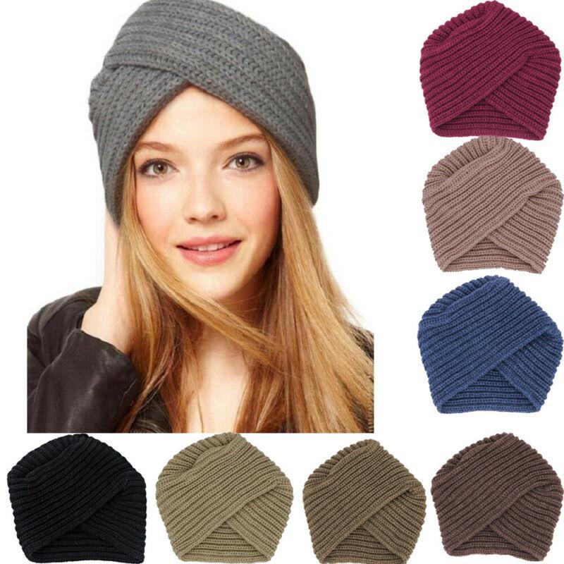 Осень Зима Мужчины Женщины Скрещенные Открытый Теплый шерстяной мусульманская Тюрбан Вязаная Hat Cap