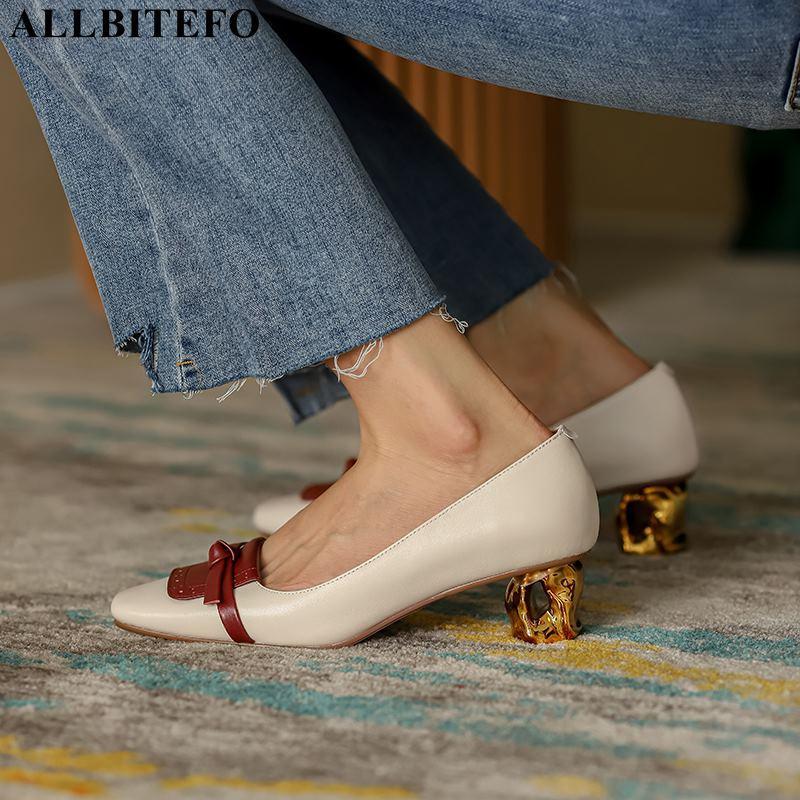 ALLBITEFO calcanhar ouro couro genuíno dedo do pé quadrado marca saltos altos escritório sapatas das senhoras mulheres de salto alto sapatos de mulheres outono saltos
